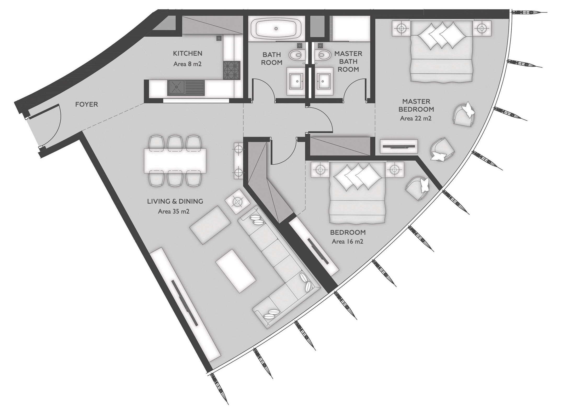 شقة بغرفتي نوم